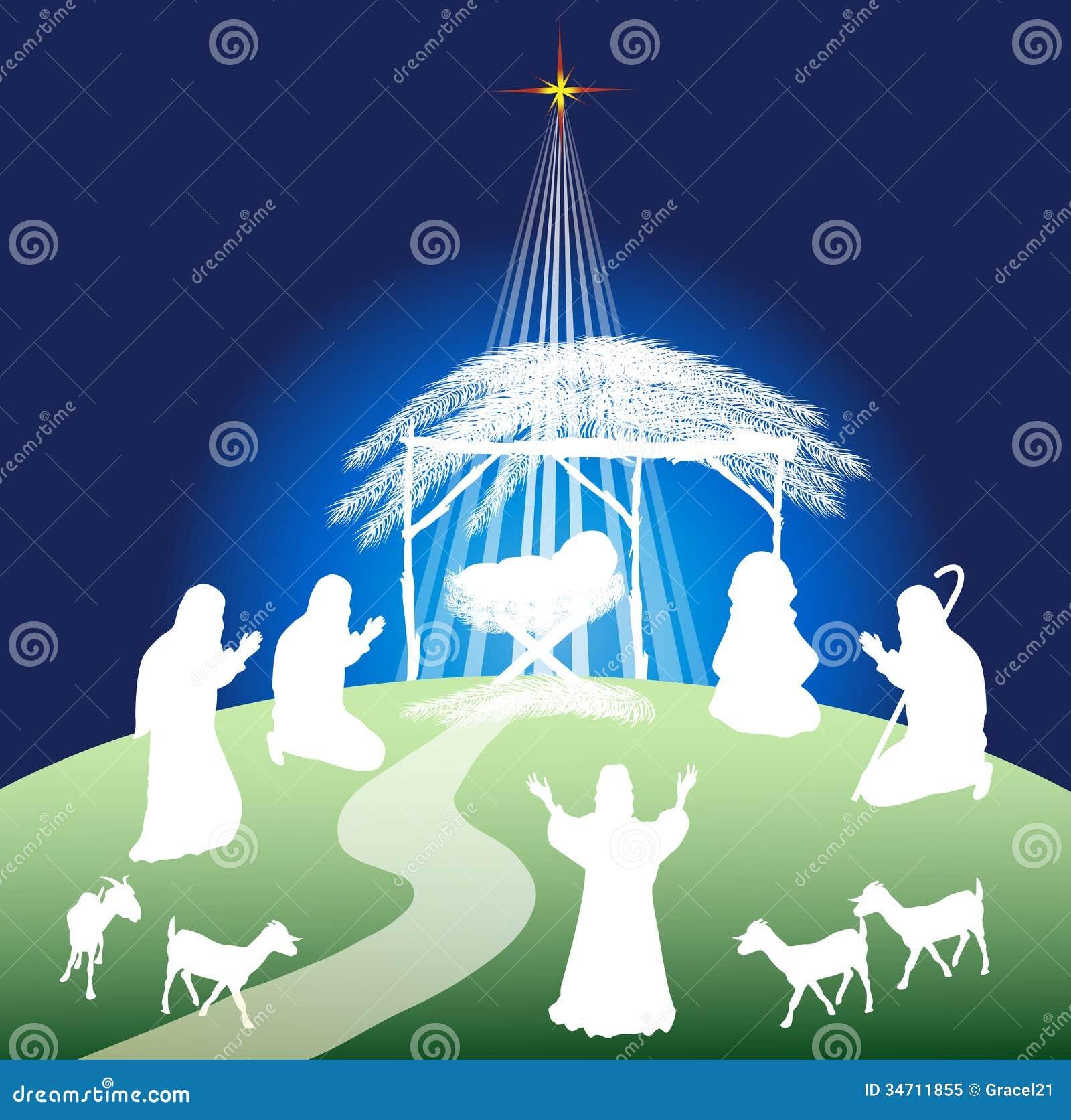 christmas nativity scene silhouette stock vector
