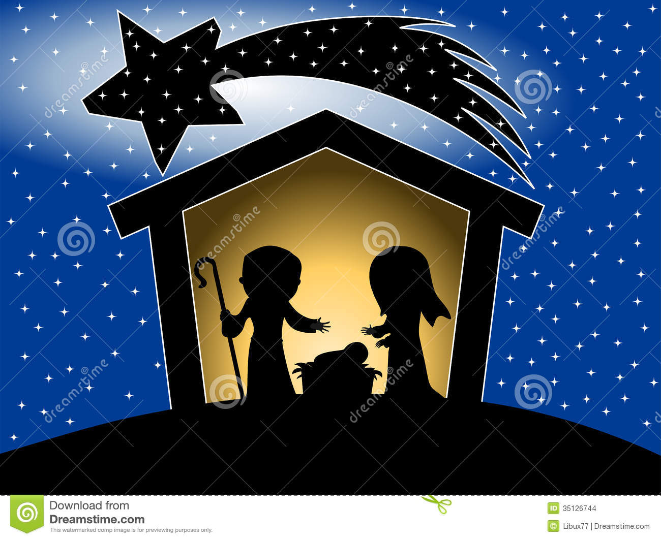 Illustration featuring silhouette of Christmas nativity scene with ...