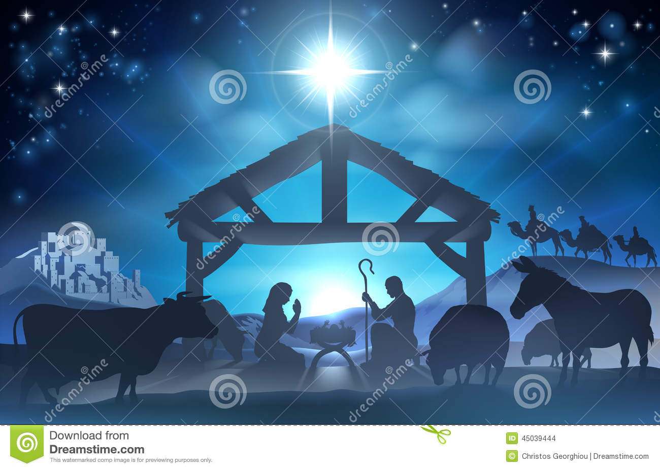 ... Scene of baby Jesus in the ... Nativity Star Silhouette Clip Art