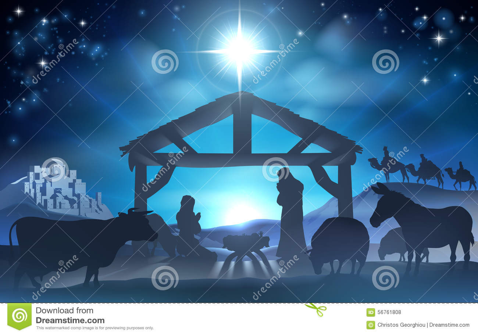christmas nativity scene stock vector