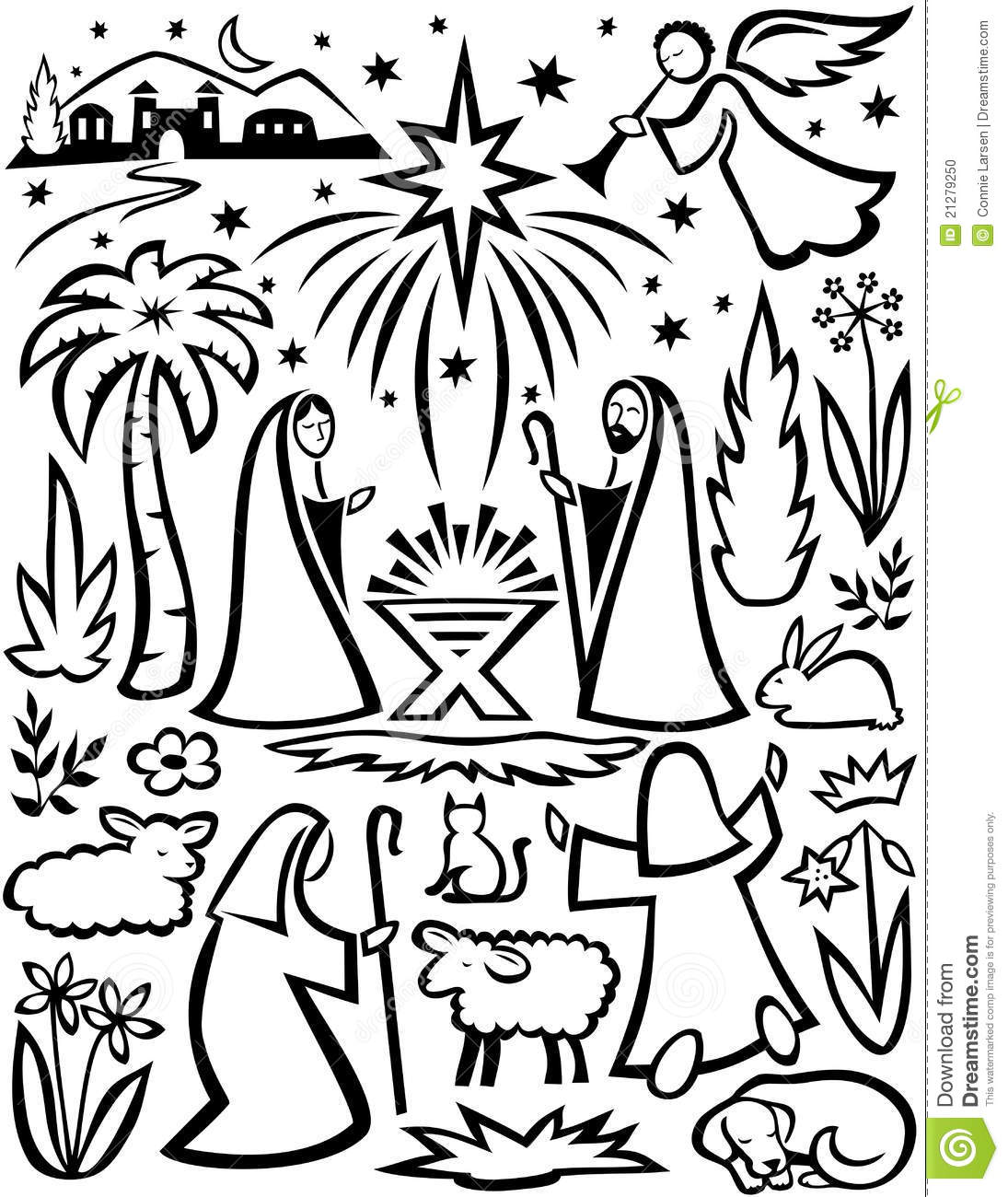 Abstract Illustration Of A Nativity Scene In Block Print Style