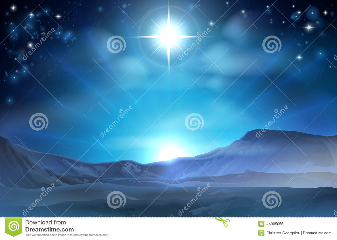 Christmas Nativity Star of Bethlehem illustration of the star over the ...