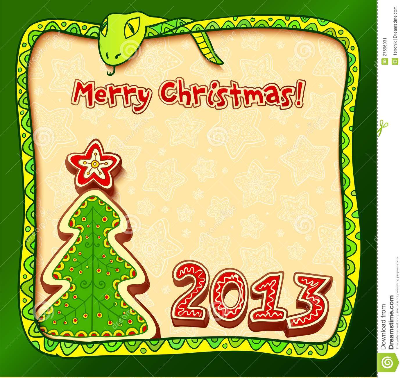 Christmas And New Year 2013 Greeting Card Stock Illustration