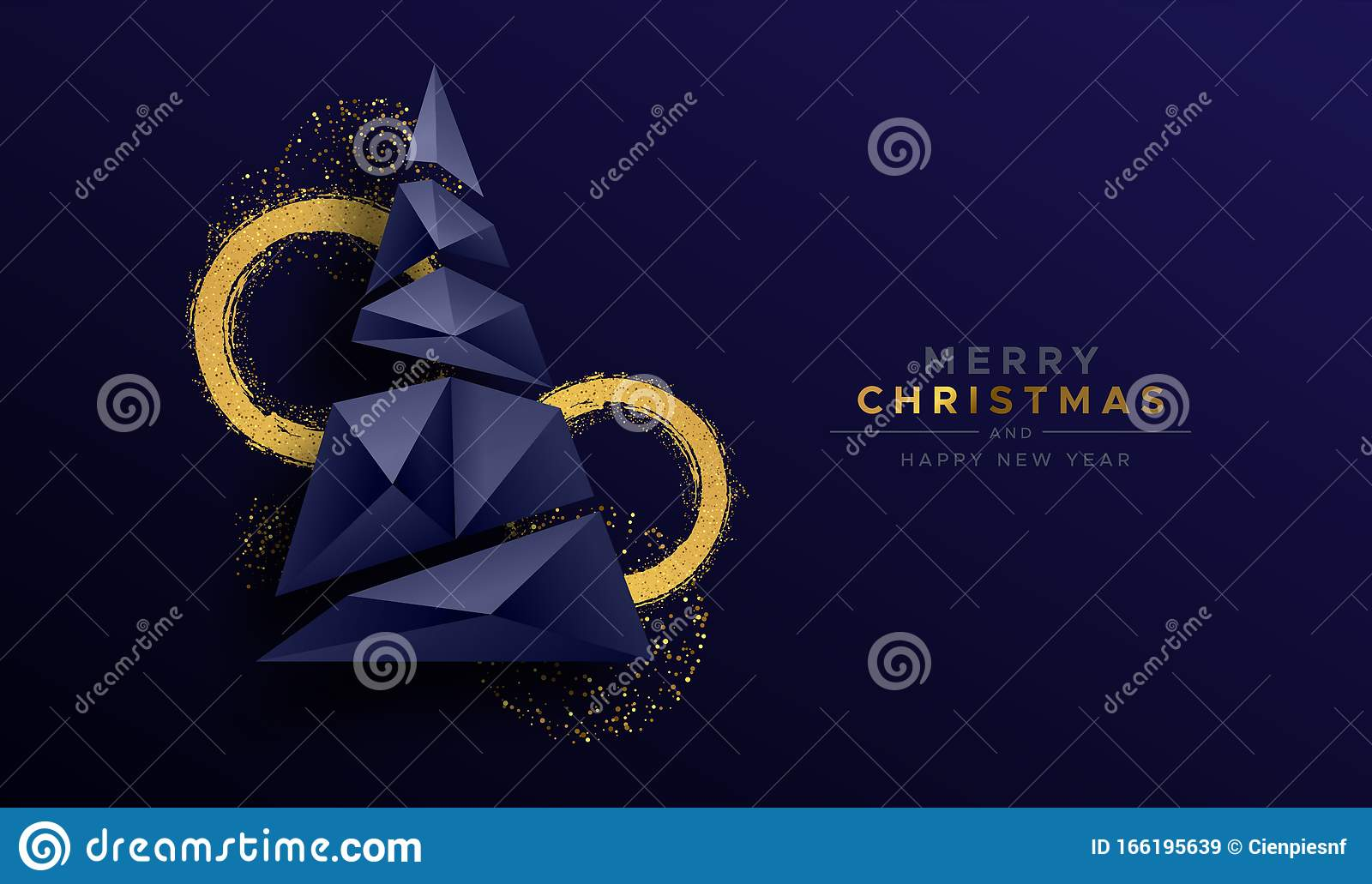 Christmas New Year Abstract 3d Low Poly Tree Card Stock ...