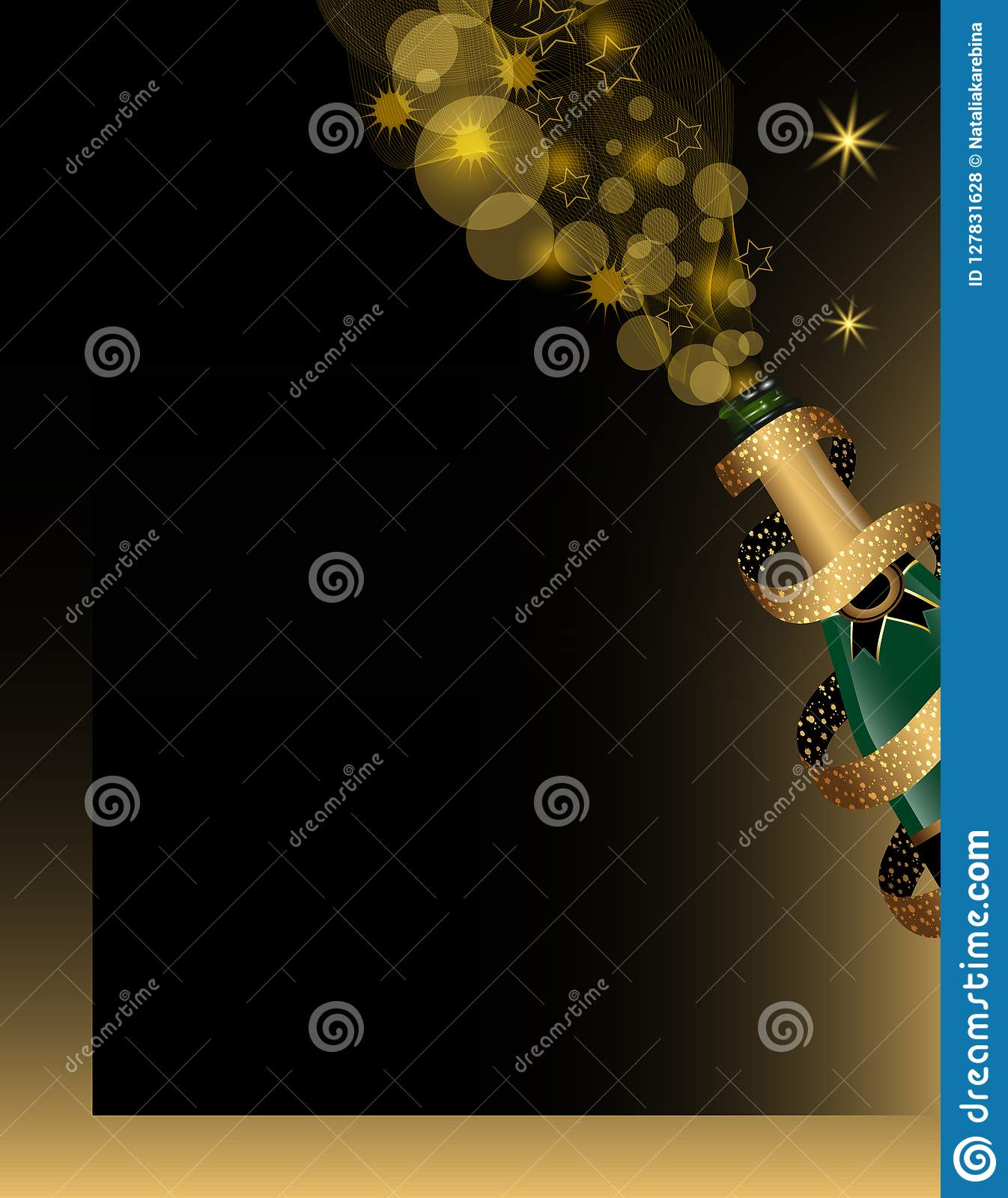 christmas and new year background with champagne bottle covered by ribbon with golden glitter vector
