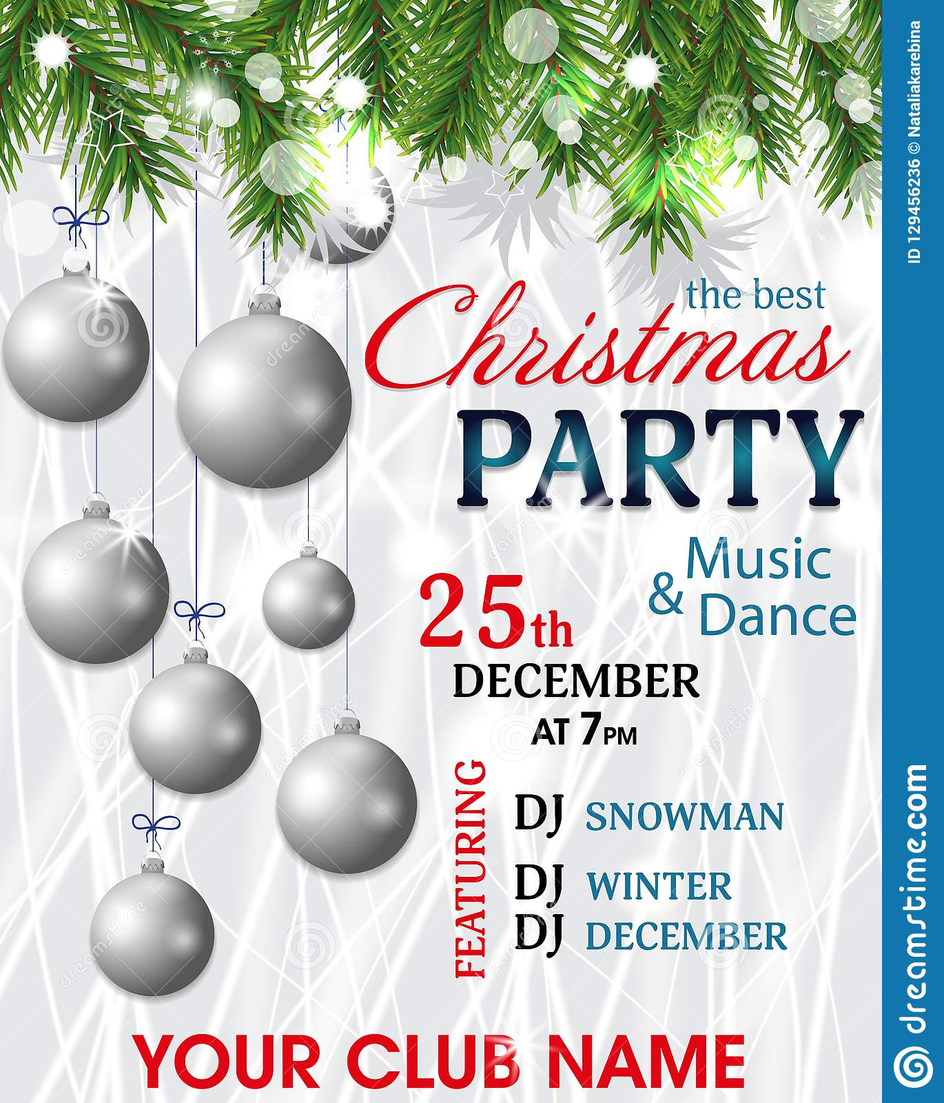 christmas and new year background christmas party invitation decoration with fir branches and silver balls