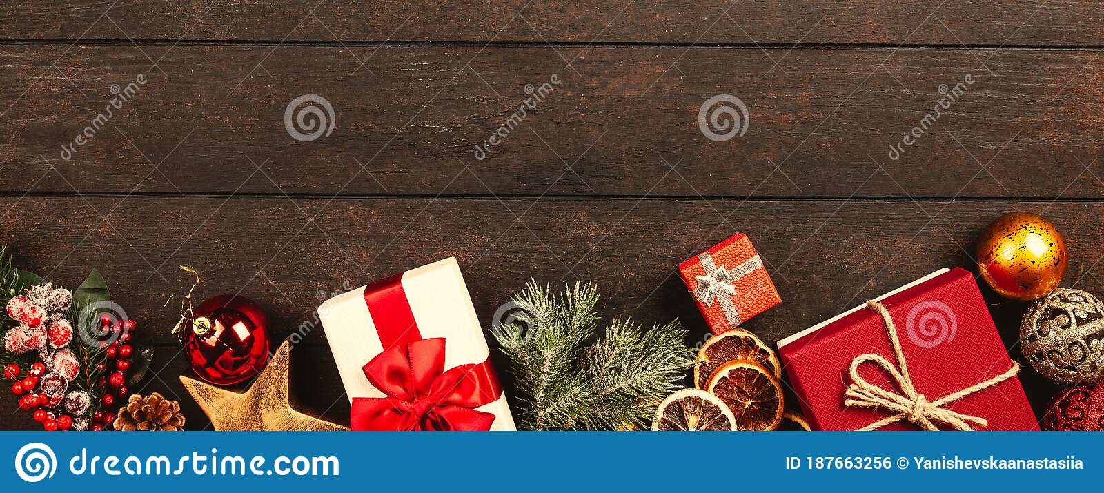 Christmas And New Year Background. Copy Space. Banner Size ...
