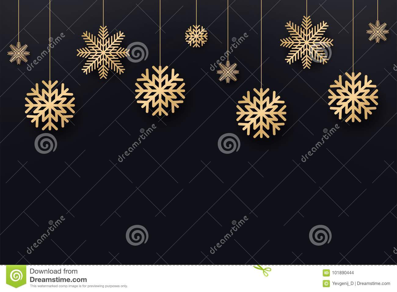 Christmas Invitation Background Gold.Christmas And New Year Background Golden Snowflakes On Dark