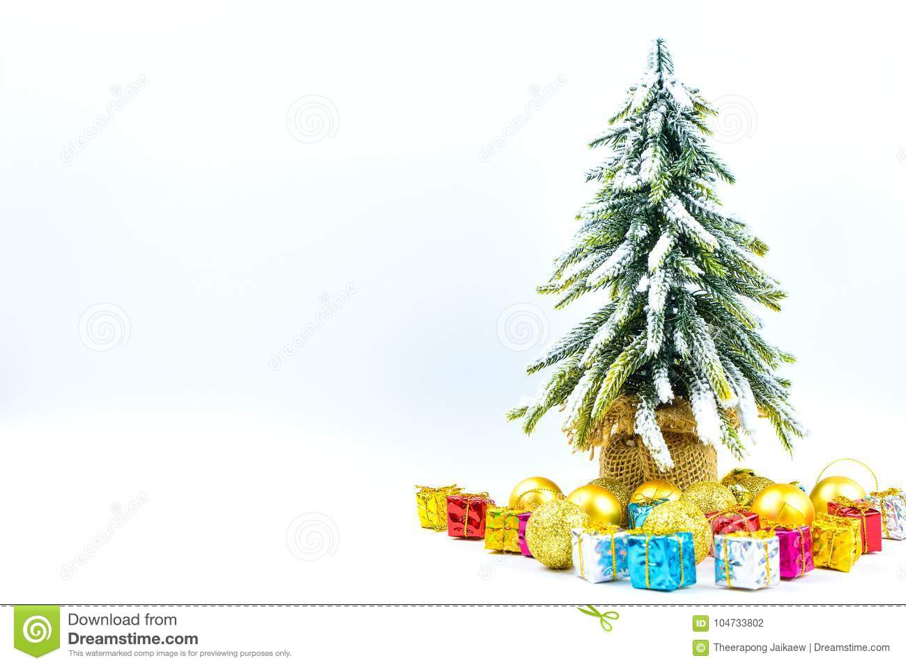 christmas or new year background with pine conesgift boxgolden