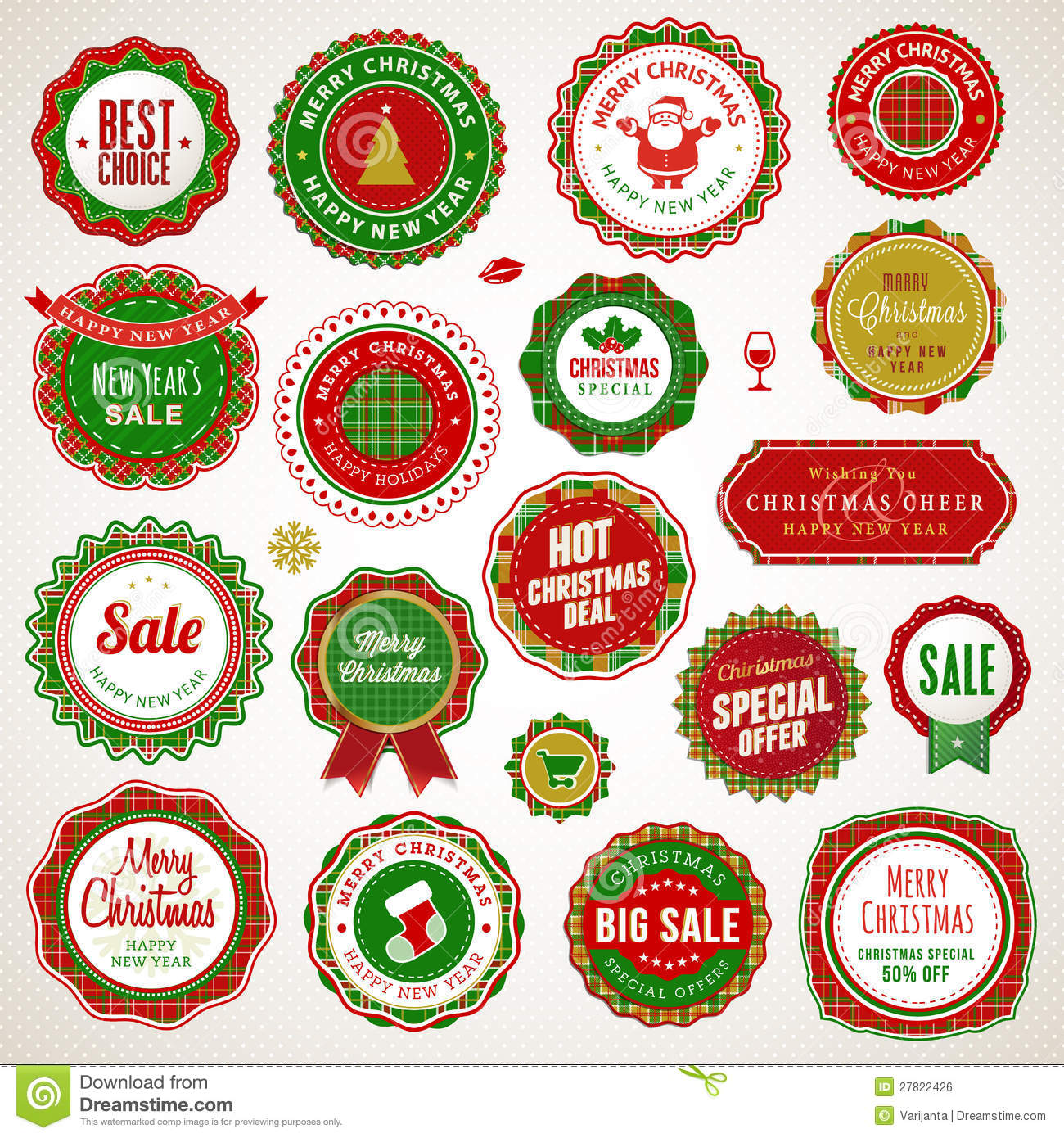 christmas and new year badges and stickers stock vector illustration of merry element 27822426