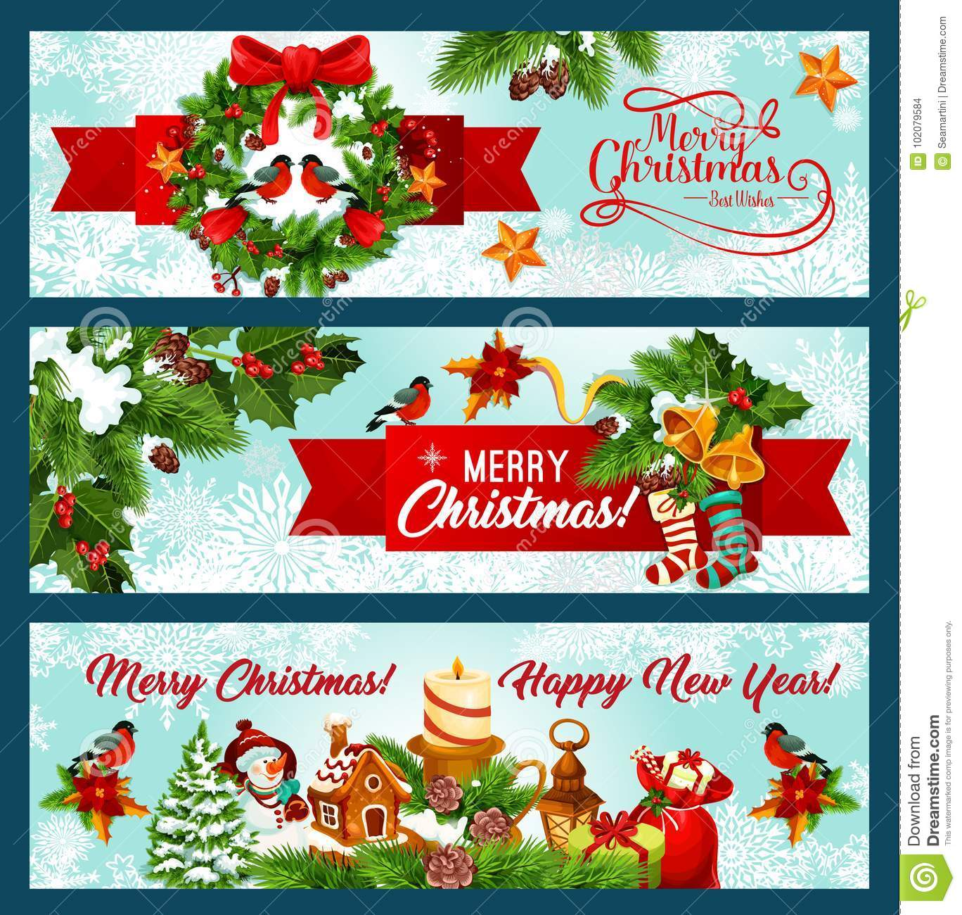 christmas and new year banner of wreath and ribbon