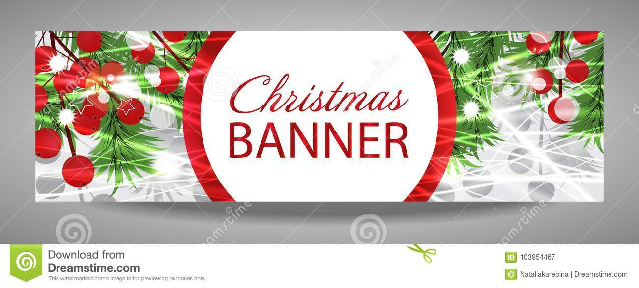 christmas and new year banner with fir branches and red berries