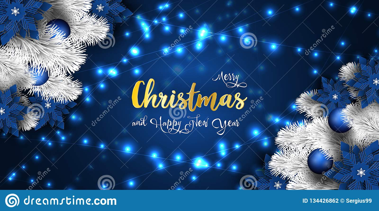 Christmas and New Year 2019 banner, Xmas sparkling magic lights garland