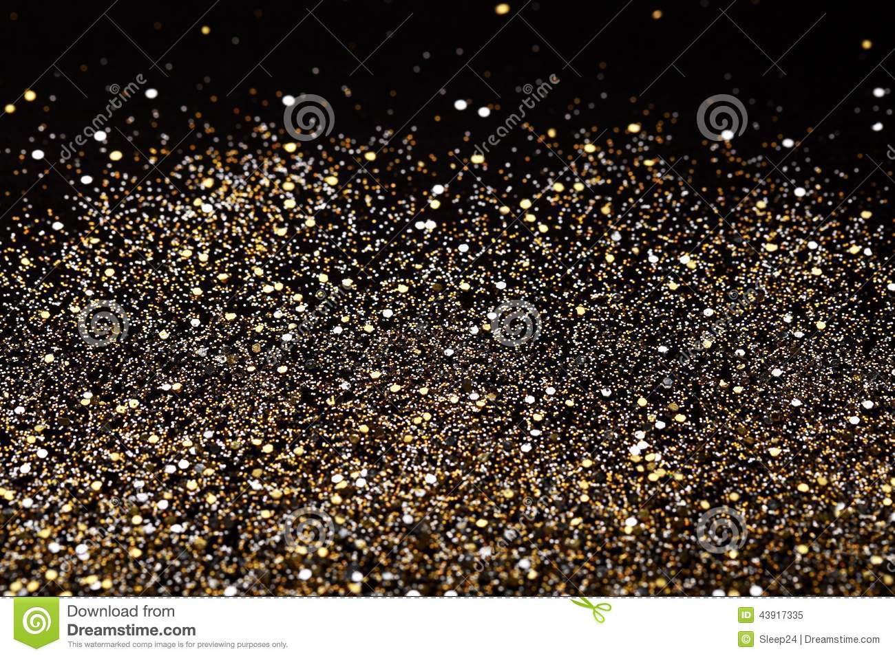 Christmas New Year Black and Gold Glitter background. Holiday abstract texture fabric