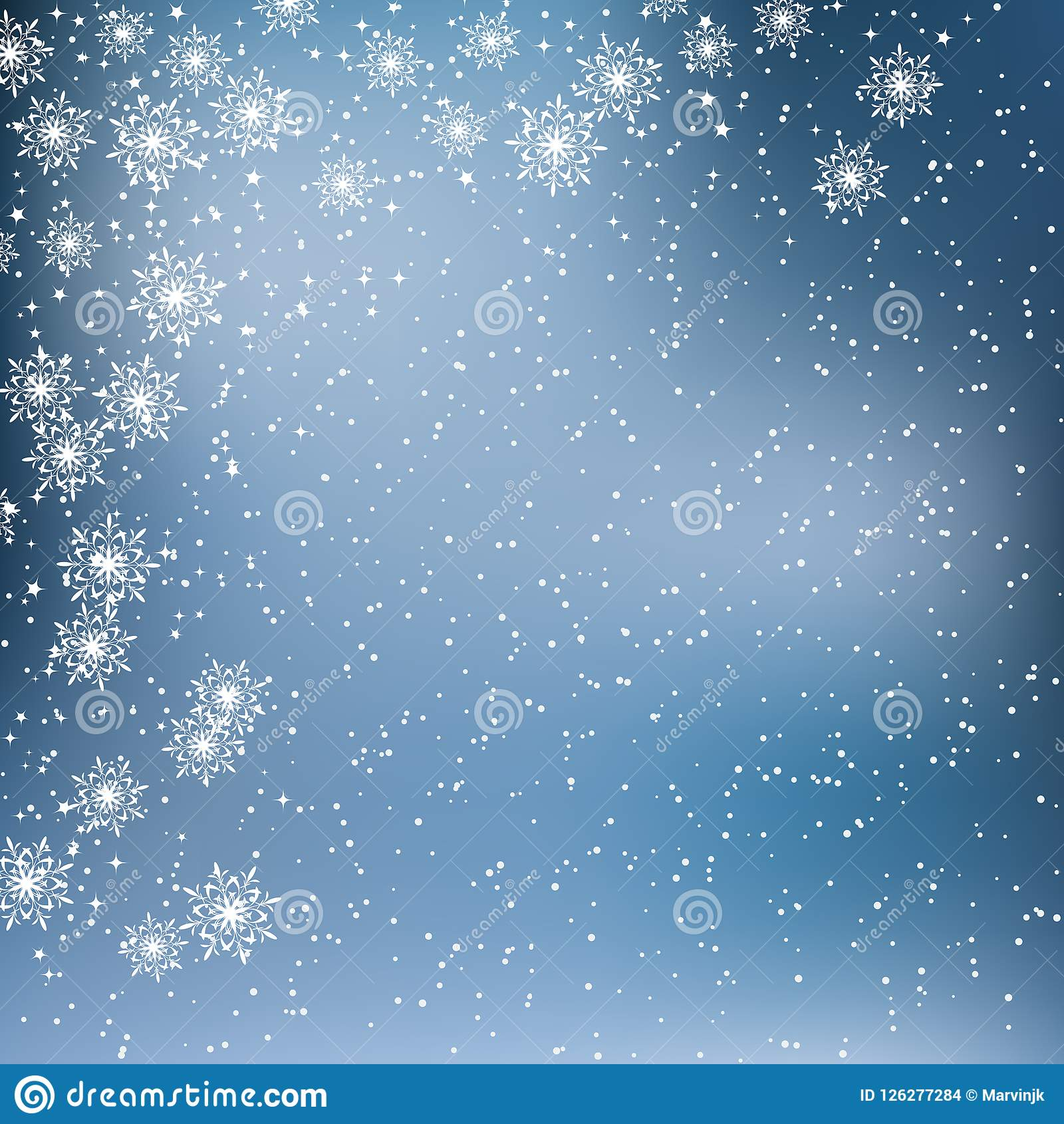 christmas and new year blue vector background