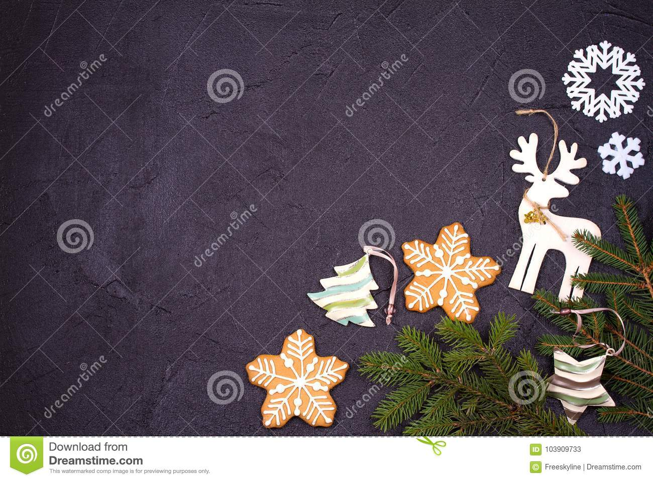 christmas and new year border or frame on black background winter holidays concept