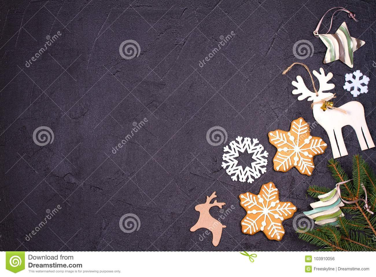 christmas and new year border or frame on black background winter holidays concept view from above top studio shot horizontal
