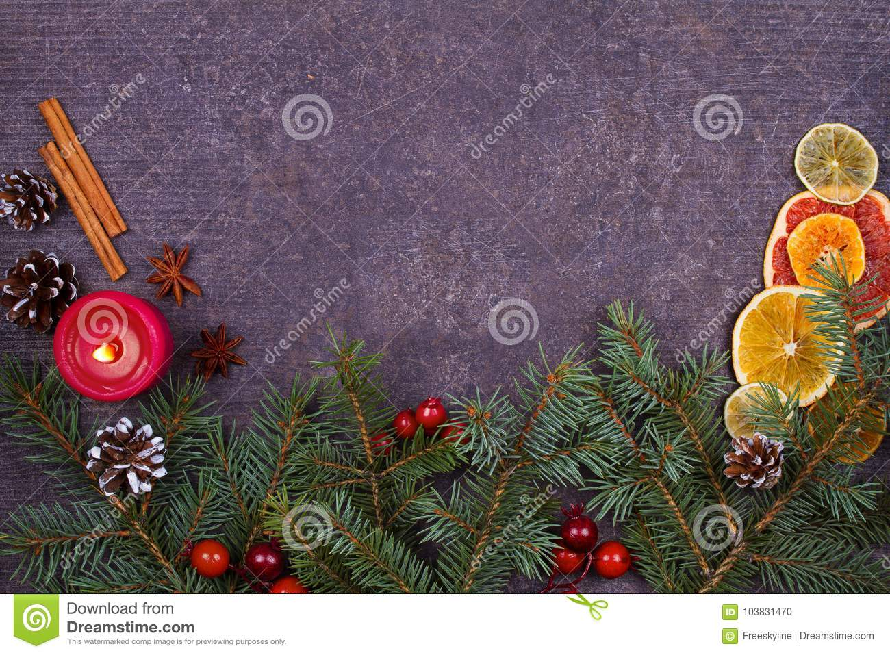 christmas and new year border or frame on grunge wooden background winter holidays concept