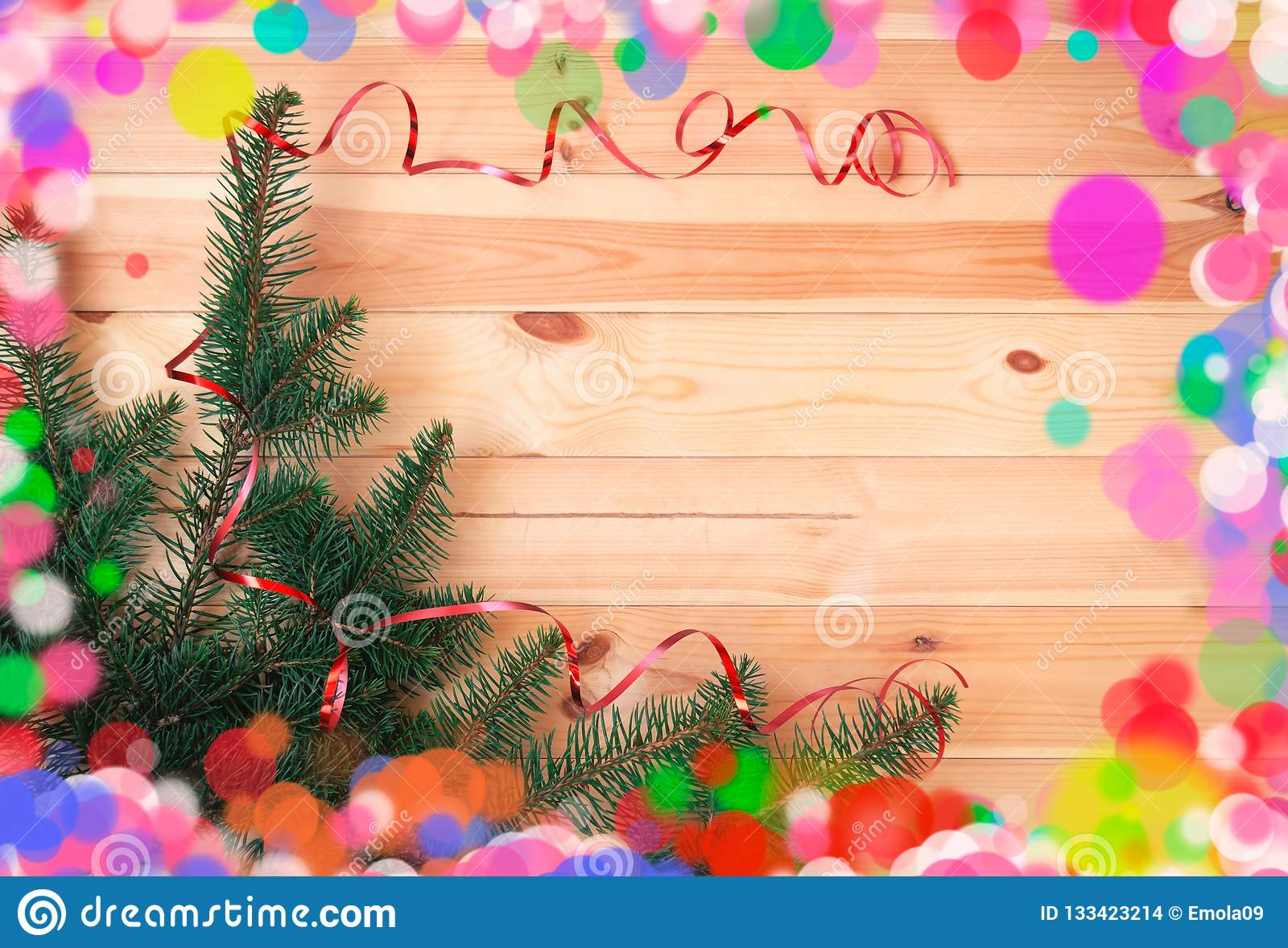 christmas and new year border made of fir branches and ribbon