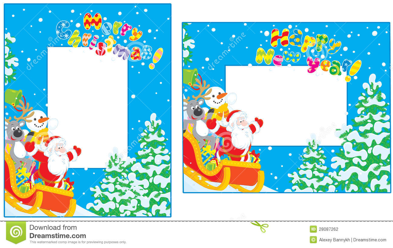 Claus, Reindeer and Snowman slide down in their sleigh with Christmas ...