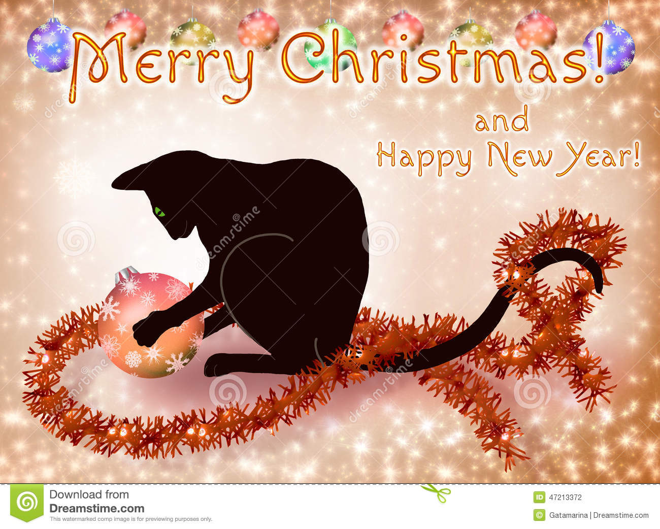 Christmas And New Year Card With A Black Cat Stock Illustration ...