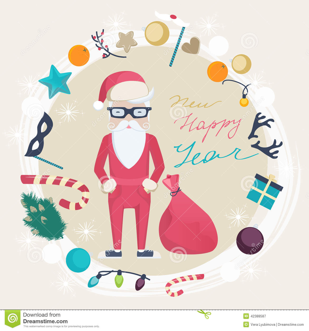 Christmas And New Year Card With Funny Santa Claus Stock Vector ...