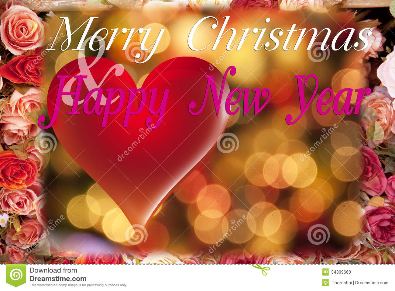 christmas and new year card with red heart and rosethis card blank area for fill wish well wording and logo by yourself