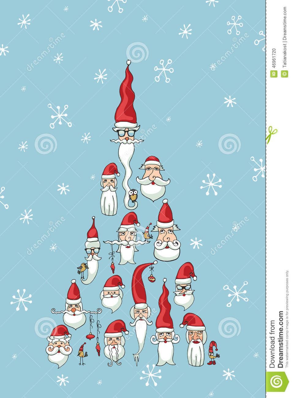 christmas new year cardsanta faces in fir shape