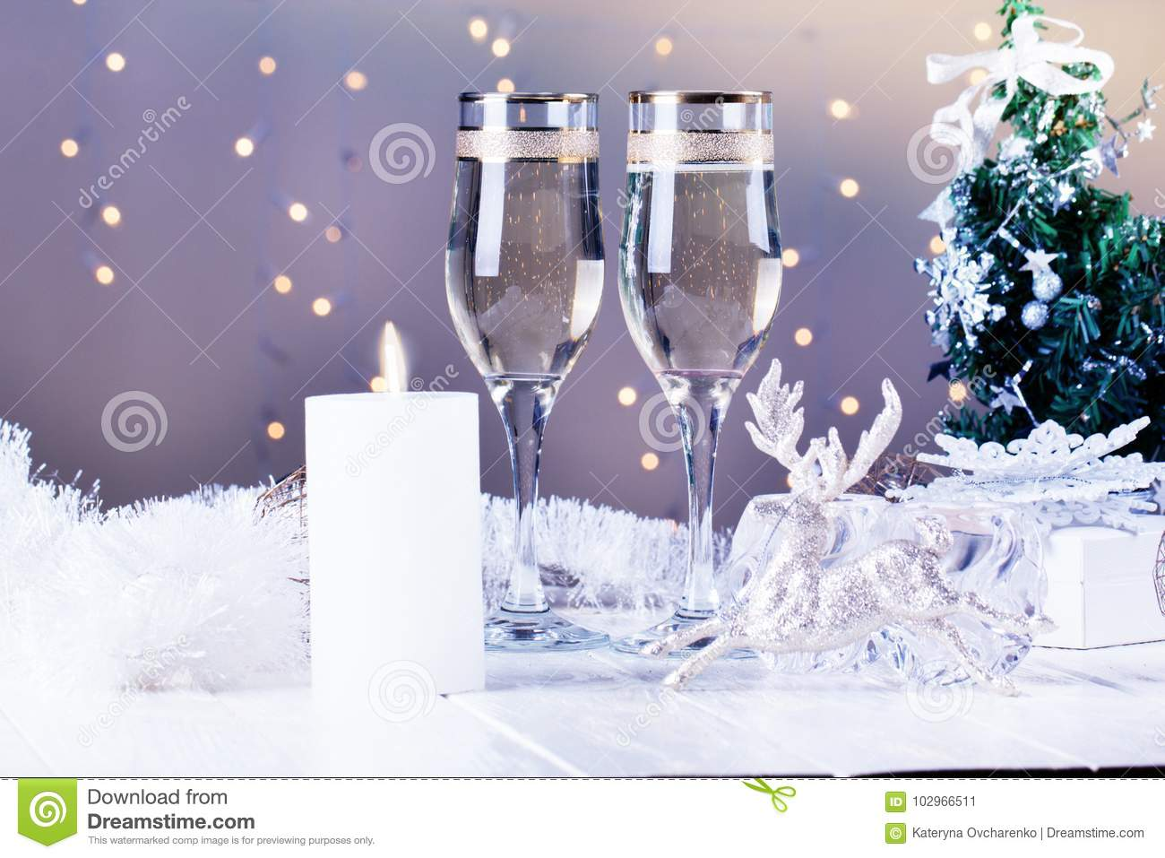 christmas and new year celebration with champagne new year holiday decorated table two champagne glasses