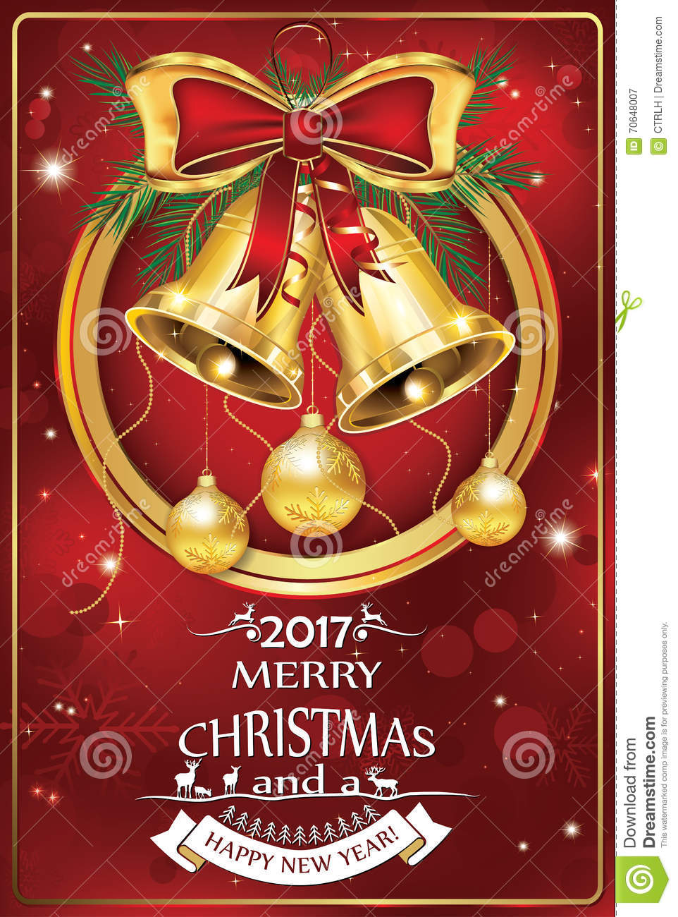 Christmas & New Year 2017 Celebration Greeting Card. Stock Vector ...