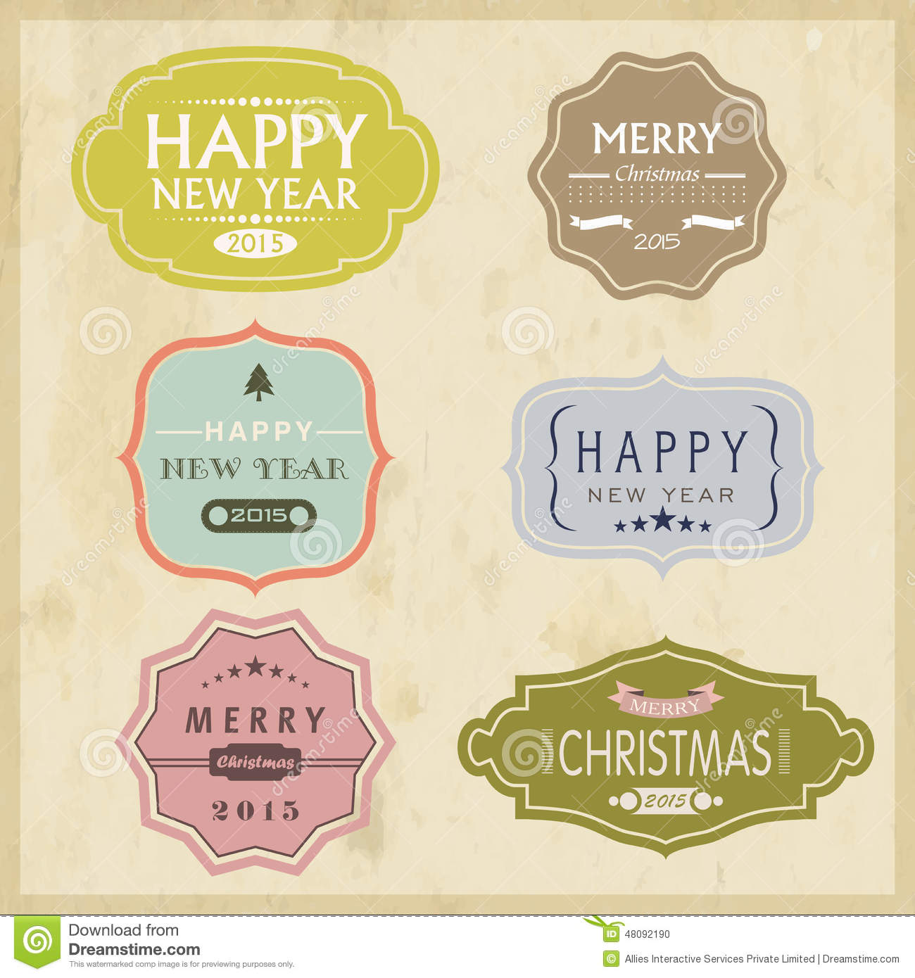 christmas and new year 2015 celebration vintage label or sticker
