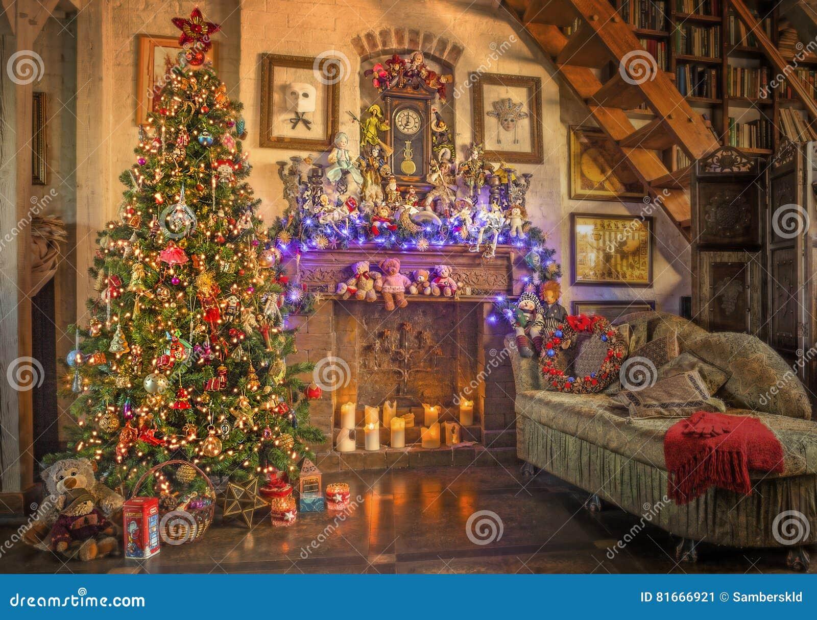 Christmas  New Year  Christmas Tree  Fireplace  001 Stock