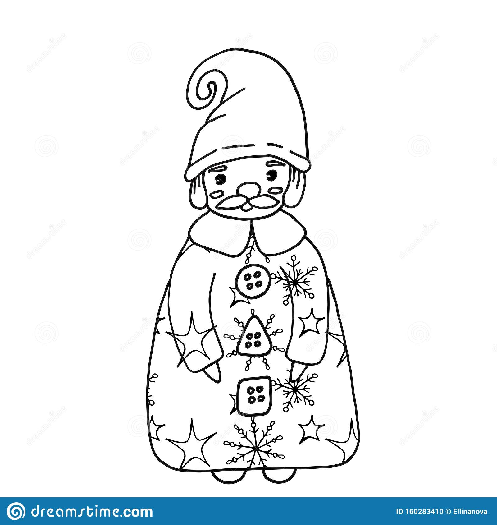 Christmas Or New Year 2020 Coloring Vector Page Stock Vector