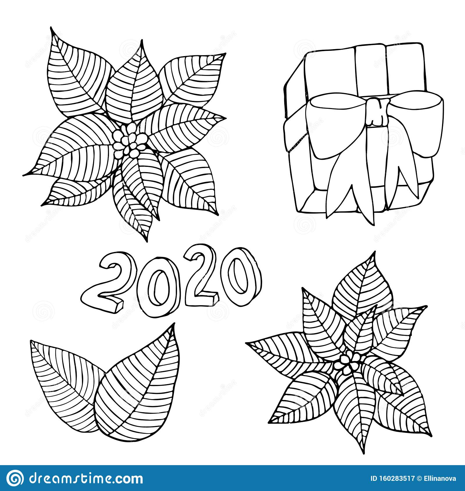 Christmas Or New Year 2020 Coloring Vector Page Stock Vector ...