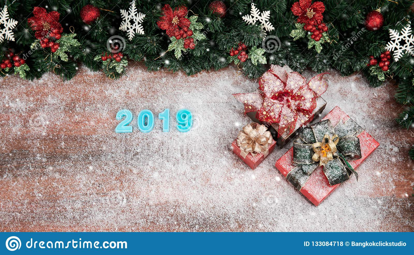 christmas and new year concept have year 2019 blue color border