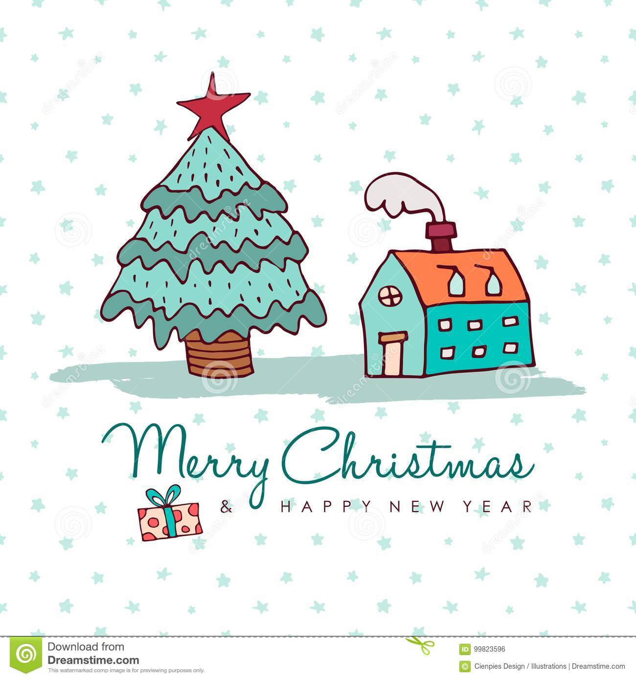 christmas and new year cozy holiday home cartoon