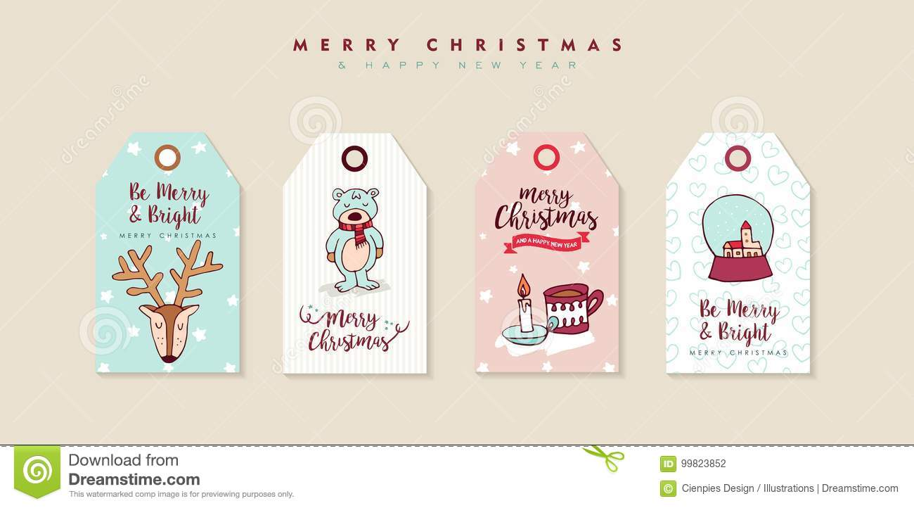 Christmas And New Year Cute Cartoon Label Set Stock Vector
