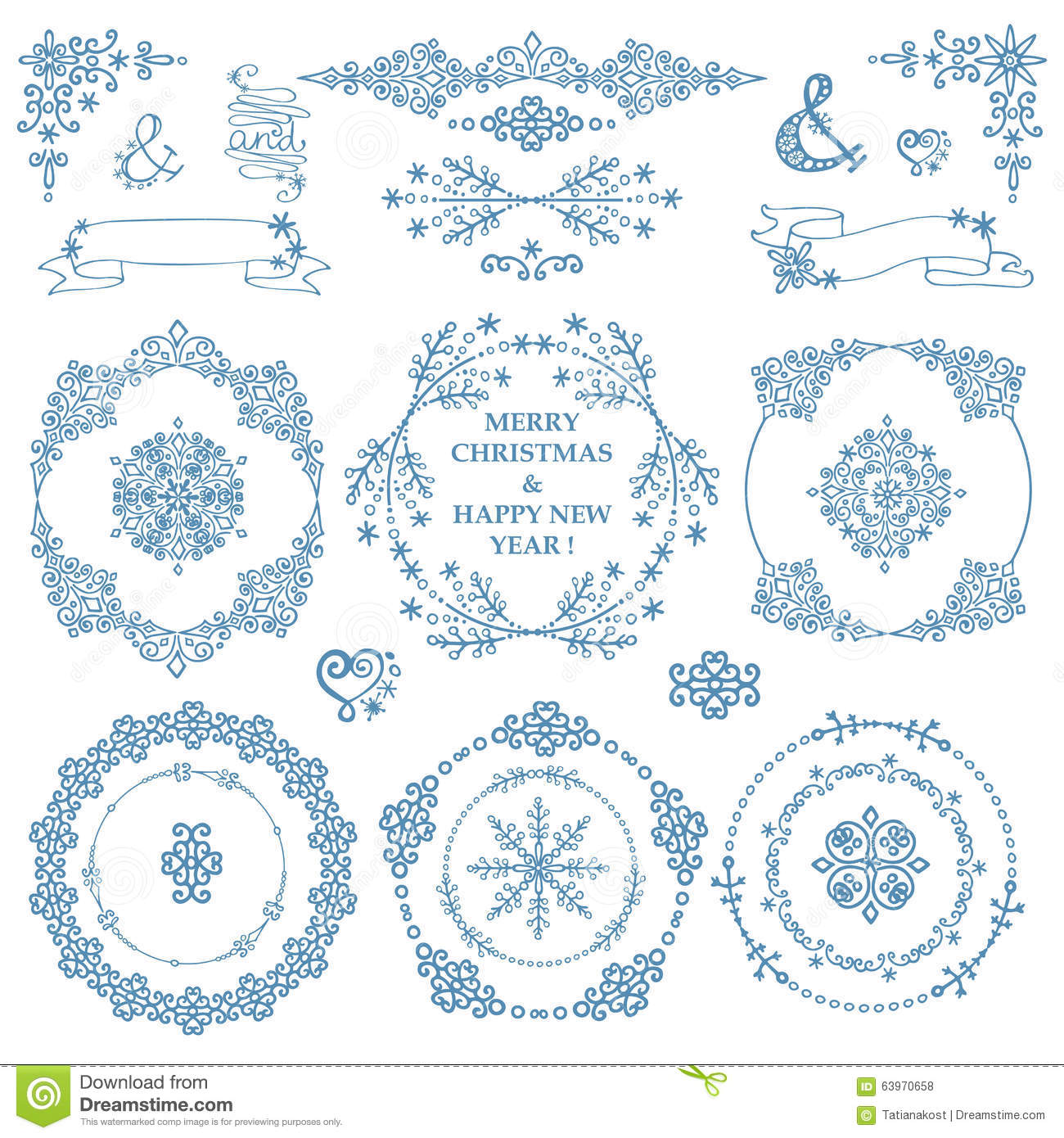 Christmas New Year Decor Set Winter Wreath Frames Stock