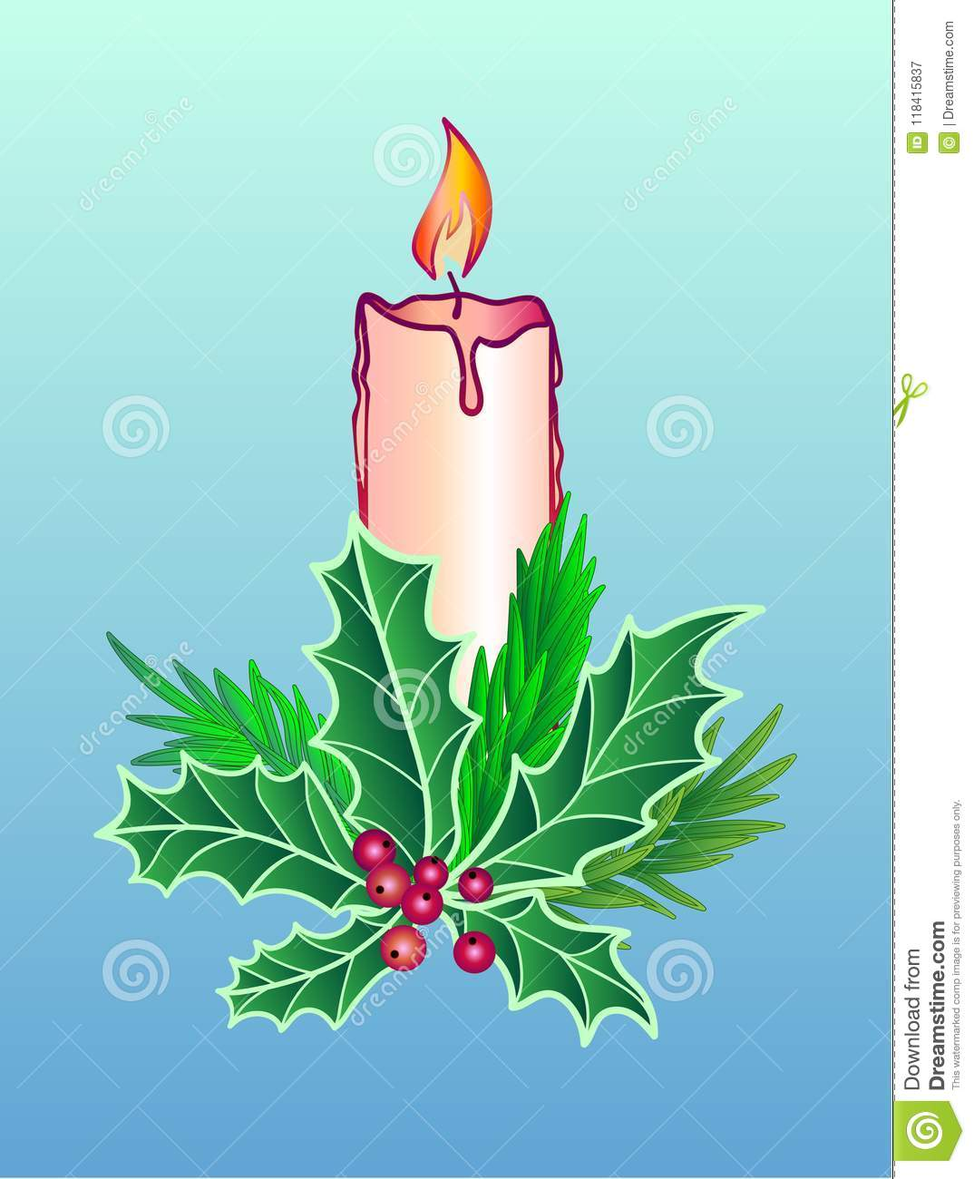 Christmas and New Year decoration. Candle decorated with holly leaves with berries and branches of rosemary on a blue gradient bac