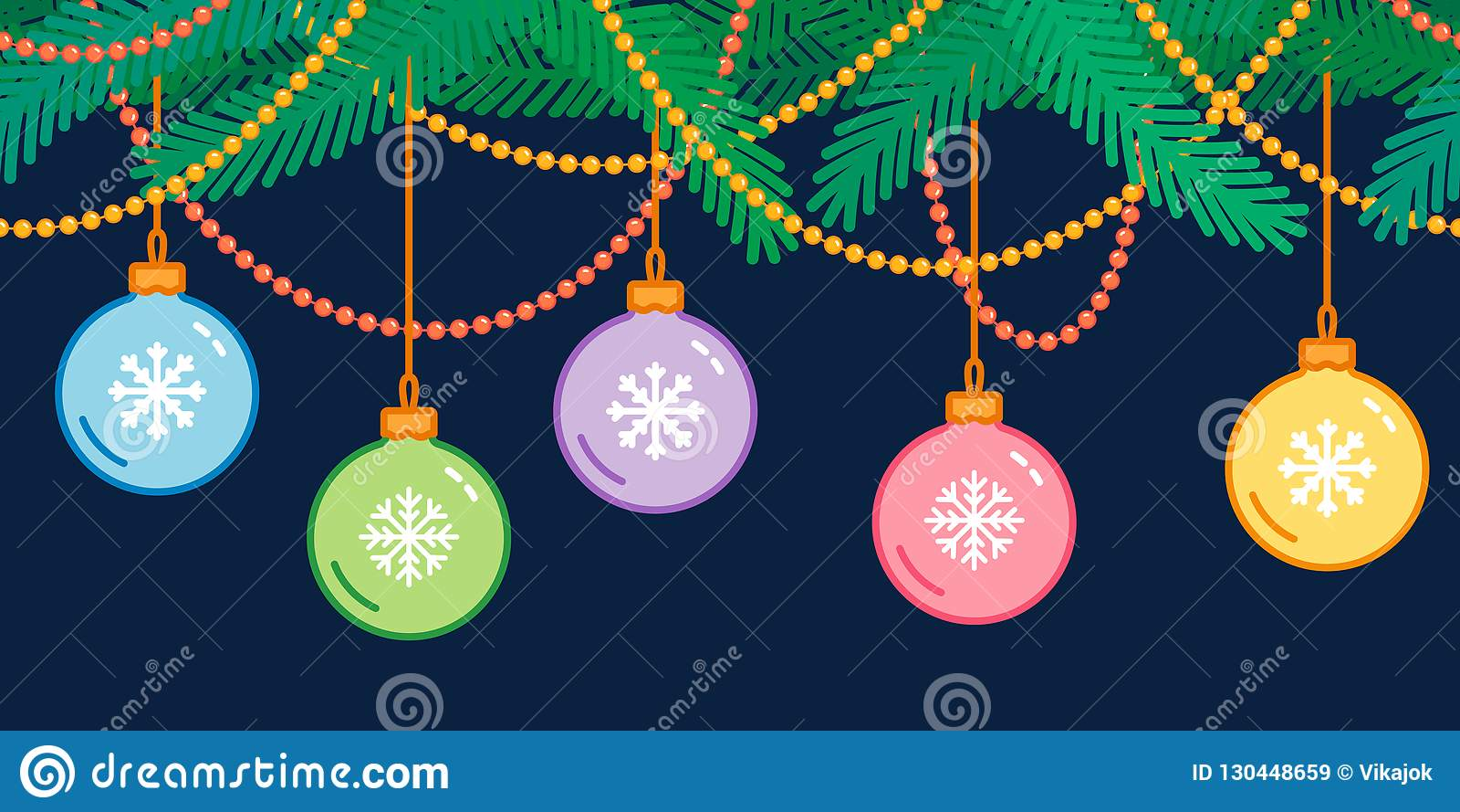 Christmas And New Year Decoration, Seamless Christmas Tree ...