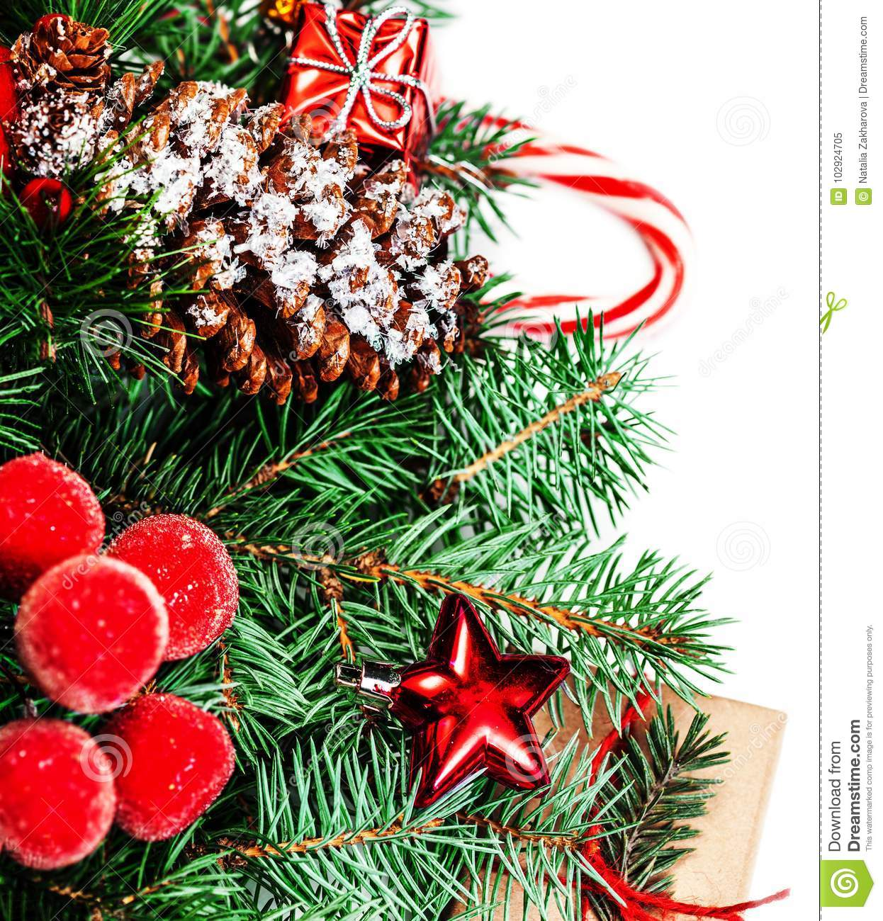 9011c6f97ad4 Christmas or New Year decorations background with pine cones, fir branches,  gift boxes, red berries and candy isolated on white background