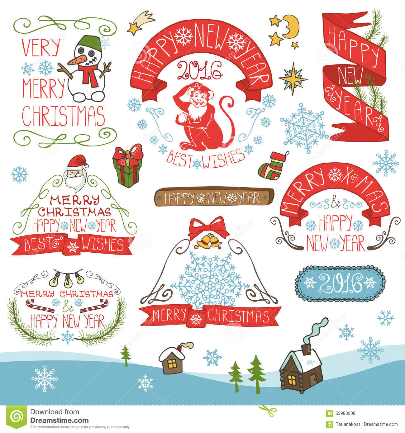 Christmas,New Year 2016 Decorations,labels Kit Stock ...