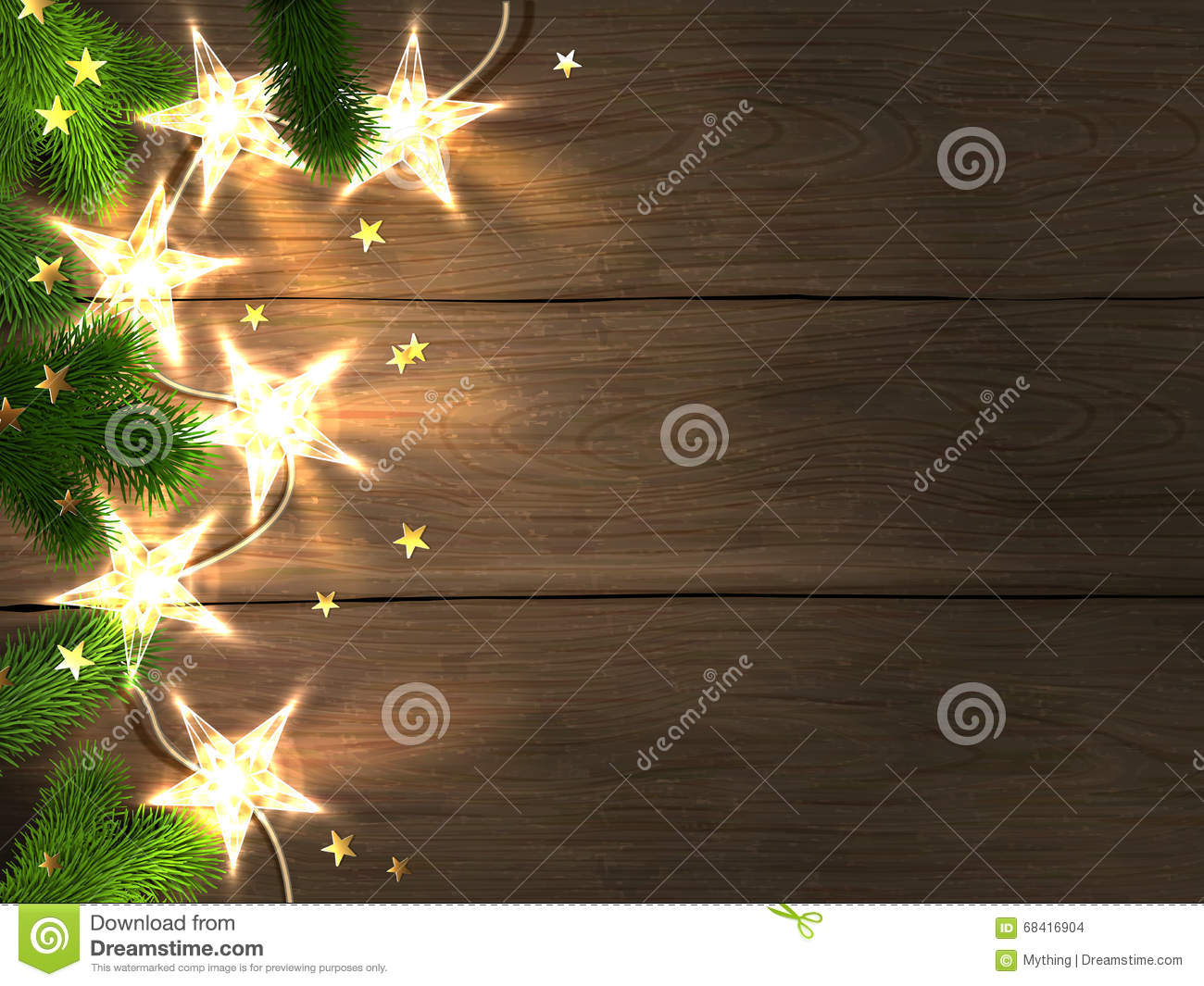 christmas and new year design template with wooden background star shaped lights fir