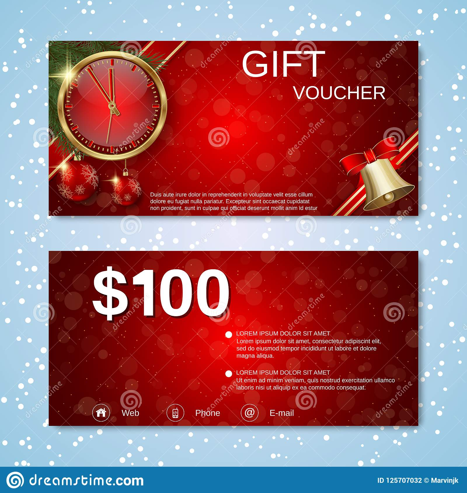 Christmas And New Year Discount Coupon Gift Voucher Vector Template