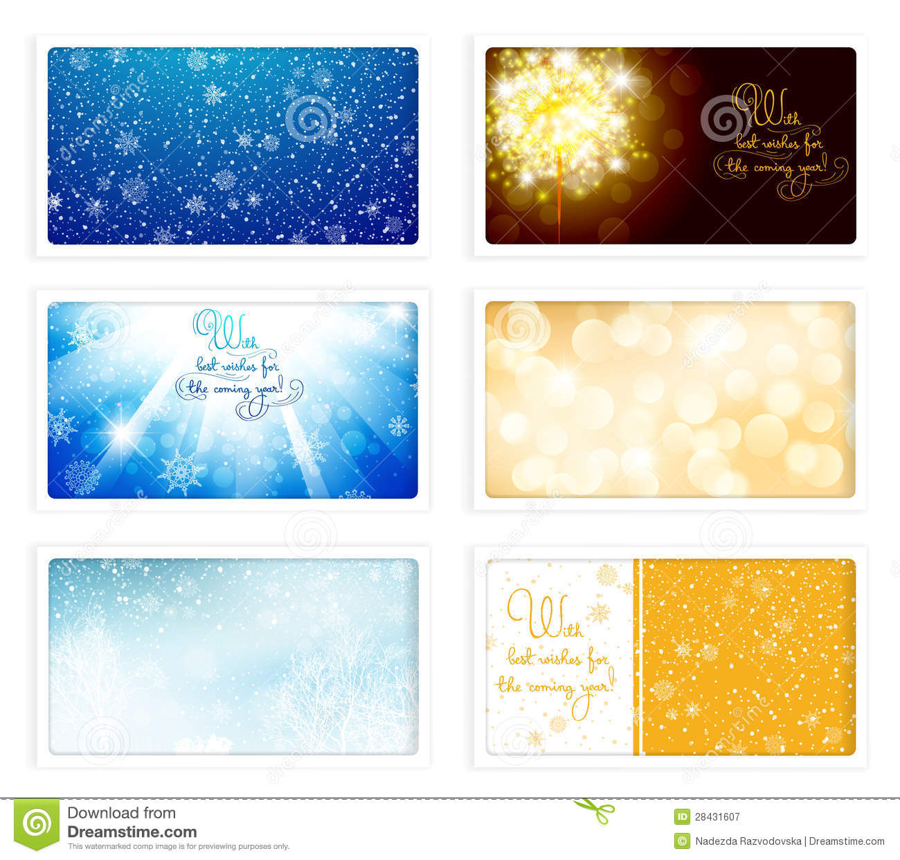 Christmas And New Year ECards Stock Vector - Illustration of ...