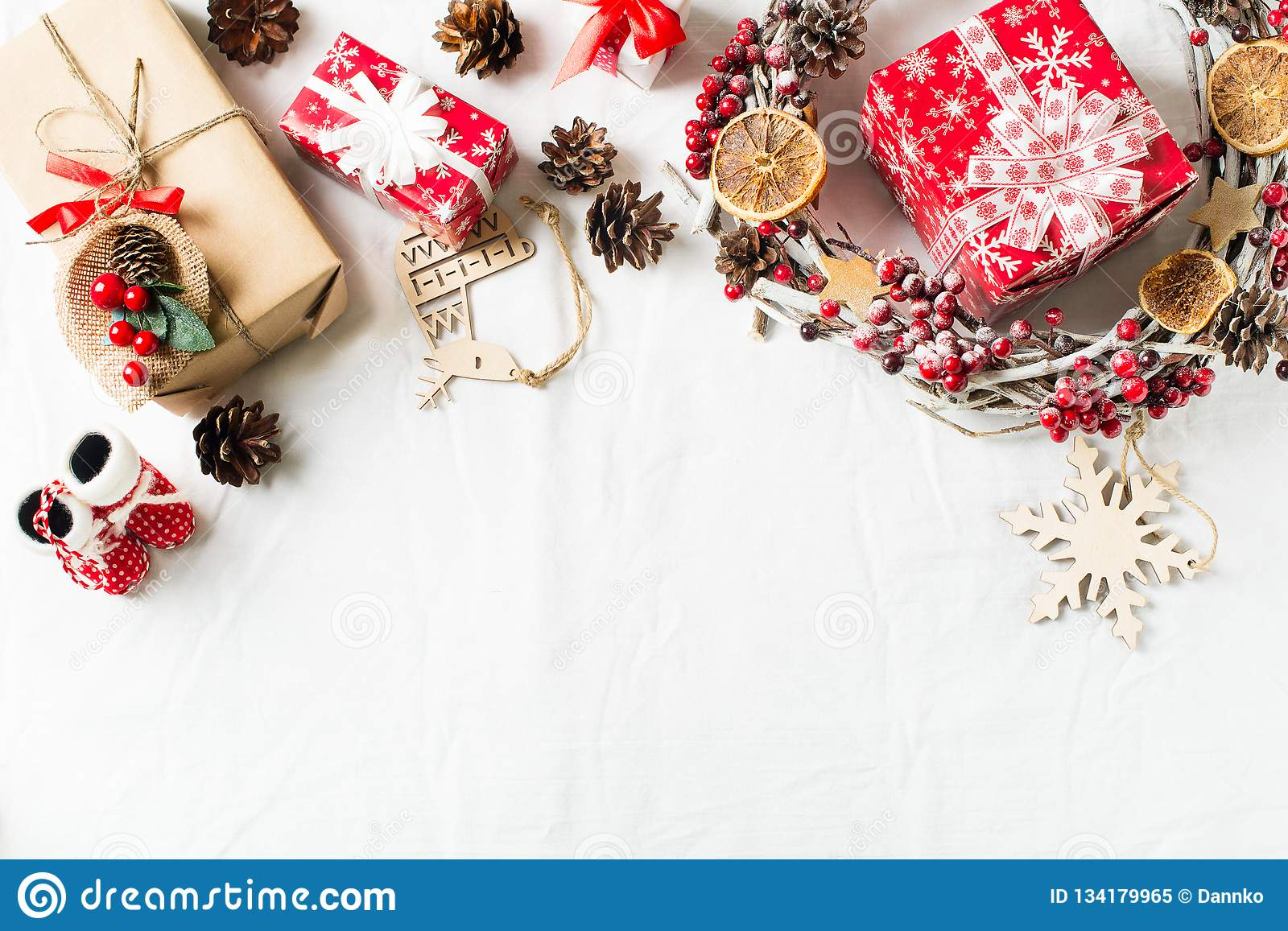 Christmas And New Year Flat Lay Decor With Wreath And Gift ...