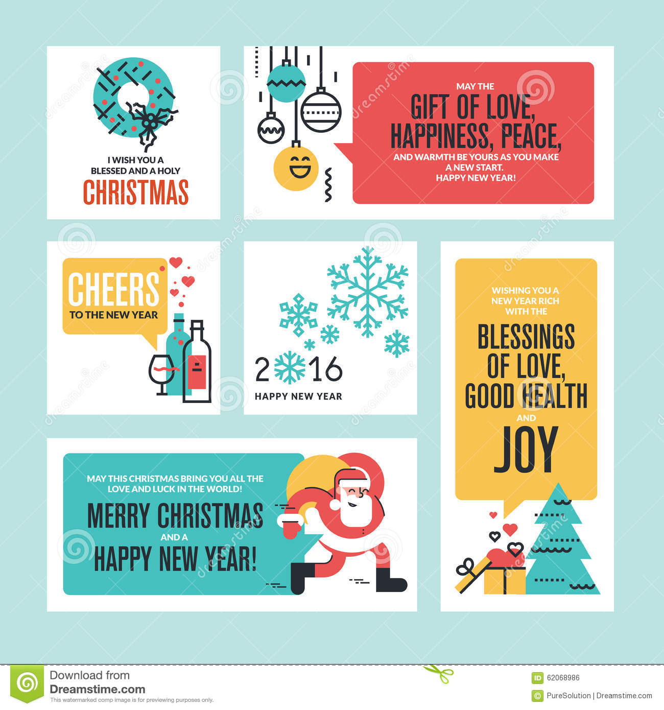 christmas and new year flat line design concept for greeting card and banner