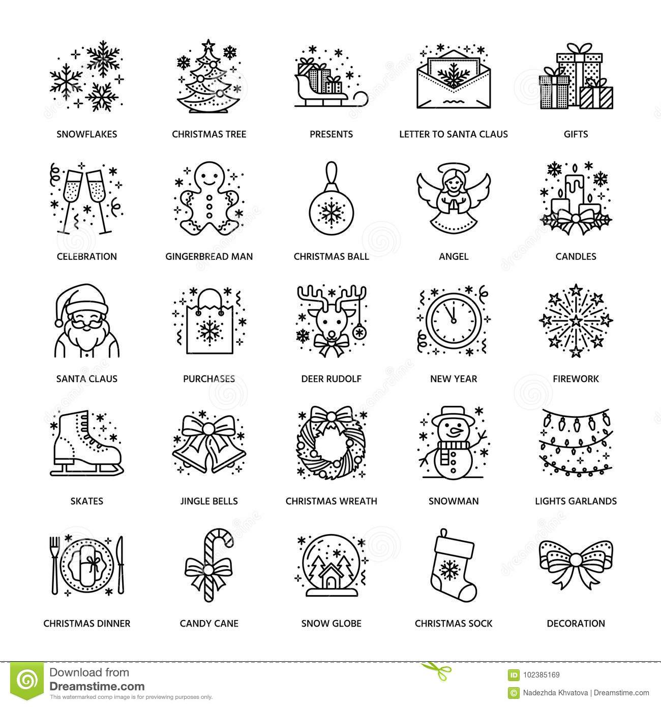 Christmas, new year flat line icons. Winter holidays - christmas tree gift, snowman, santa claus, fireworks, angel