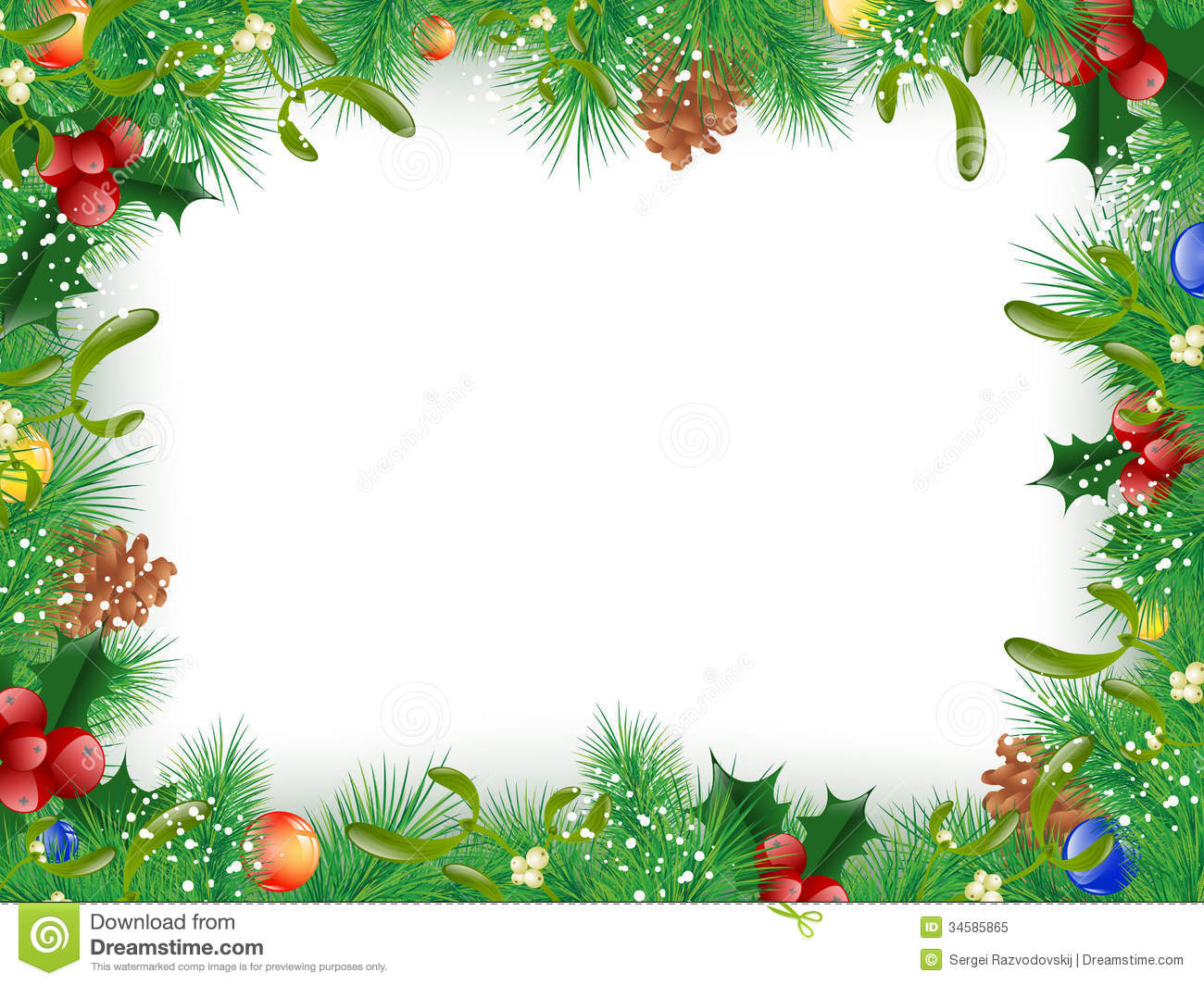 Christmas And New Year Frame Stock Vector - Illustration of cone ...