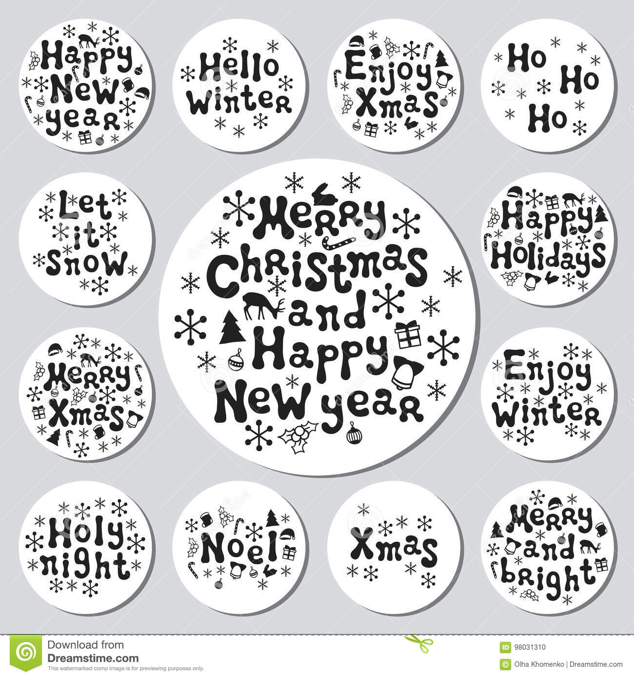 Christmas New Year Gift Round Stickers. Labels Xmas Set. Hand Drawn ...